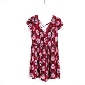 HOT TOPIC Maroon Skull Tie Up Babydoll Dress m